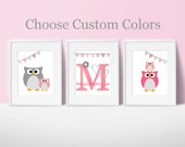 Owls, bunting, Nursery, children, kid, baby room, artwork, art, print, girl boy, pink, gray, chevron, gray, custom, set of 3, monogram