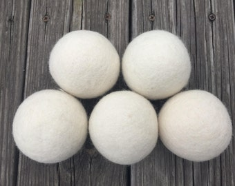 Wool Dryer Balls – Set of 5 – Natural Eco Friendly with no chemicals - XL - Organic & Baby Safe