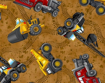 ROAD WORK-by the half yard by Qt fabrics-yellow red construction TONKA trucks bulldozer-24049 A