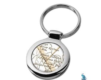 Map Keychain Takoma Park Maryland Key Ring Fob