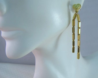 Asian 23kt Yellow Gold Heart and Chain Earrings
