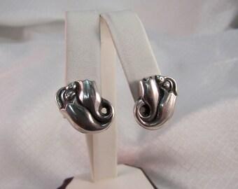 Vintage 1940's Georg Jensen, La Paglia Sterling Tulip Clip Earrings, Georg Jensen USA, Inc