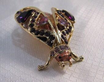 Designer Purple Rhinestone, Enameled Beetle Brooch, June Bug Brooch
