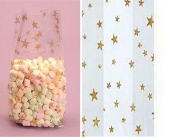 """Large """"GOLD STARS"""" Print Cello Treat Snack Goodie Bags Cellophane Baggies (Free Shipping!)"""