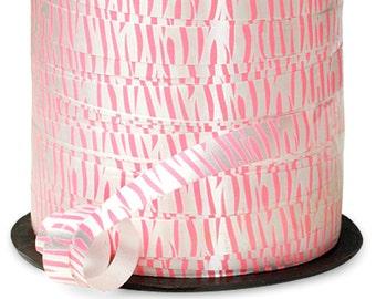 "20YDS Pink & White Tiger Zebra Stripes Animal Print 7/16"" Curling Ribbon"