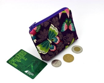 Change Wallet, Card Pockets, Gift For Her Kimono Cotton Fabric Butterfly Purple