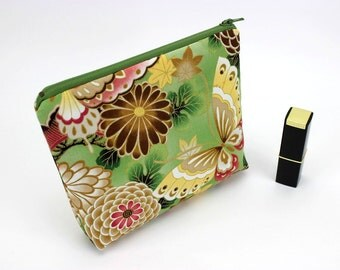 Padded Cosmetic Pouch, Gift For Her, Make-up Pouches, Chrysanthemum Butterfly Yellow Green