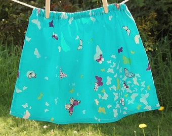 turquoise blue skirt with butterflies girls age 6 - 7 years, purple green white