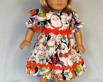 18 inch doll dress for Halloween .  Fits American Girl dolls.  Daisy Kingdom ghost print.