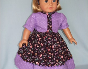 American Girl Doll or 18 inch doll dress,  jacket, and headband. Black floral print with purple contrast.