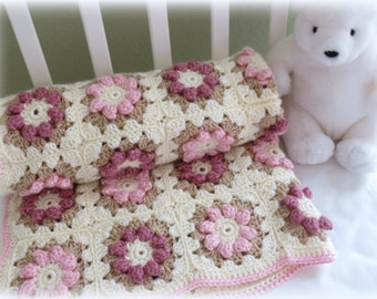 Crochet Baby Blanket Pattern, Baby Blanket Pattern, Nursery Rug - Rose - Flower Baby Blanket, Crochet Patterns by Deborah O'Leary