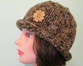 Brown Knit Rolled Brim Hat with Button