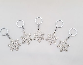 Set of 5 Large Snowflake Key Chain Frozen Favors - Snowflake Backpack Charms