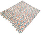 Vintage Crochet Chevron Design Blanket Coral and Baby Blue Handmade Baby Shower Gift