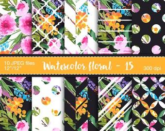 Floral digital paper - Watercolor paper pack, Digital paper flowers, Digital scrapbook paper, Watercolor polkadot digital paper, Peony paper
