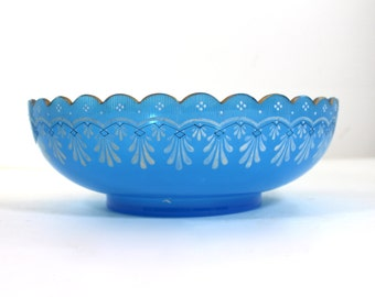 Blue Opaline Bowl with Hand Painted Enamel decoration