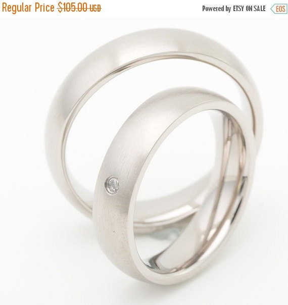 ON SALE Titanium Wedding Ring Sets With Matte by FirstClassJewelry