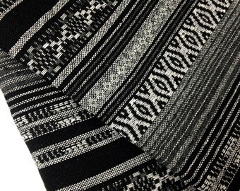 Thai Woven Fabric Tribal Fabric Cotton Fabric by the yard Ethnic fabric Craft fabric Craft Supplies Woven Textile 1/2 yard Black (WF48)