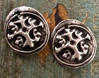 Ancient Ornamental Charms - Handcrafted Pair Britannia Pewter Rustic Jewelry Components