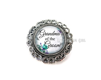 Grandma of the Groom Wedding Brooch - Silver Wedding Boutonniere - Grandmother of the Groom Pin - 14 Stylish Backgrounds & 2 Brooch Options