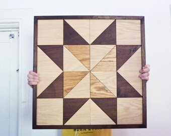 Wooden Pinwheel Barn Quilt - Walnut Oak Geometric Traditional Wall Art Rustic Modern Quilted Block Patchwork Country Farm Chic Handmade
