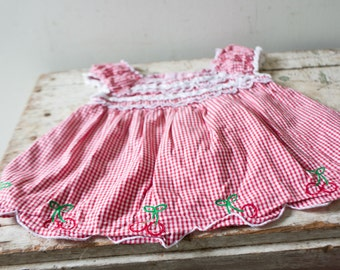 Vintage Baby Dress Vintage Red Cherry White Dress Size 18 Months Polka Dot Dress Buttons