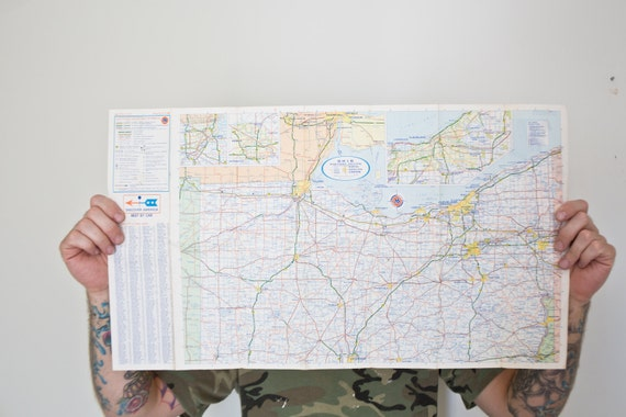 Vintage Ohio Map Ohio State Map Us Map Road Map Trip Map Art Osu Buckeyes Ohio State From Whiskyginger On Etsy Studio