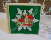 Vintage Christmas Card unused Raised snowflake House lighted tree dimensional green