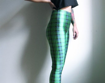 Neon Green Leggings Rave 80s High waisted Leggings Print Tartan Pants Punk Leggings Spandex Pants Womens Small Medium Large Active Wear