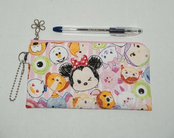 """Padded Zipper Pouch / Pencil Case / Cosmetic Bag Made with Cotton Fabric """"Tsum Tsum - Pink Stripe"""""""