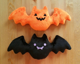 HALLOWEEN Creepy Cute Pumpkin Bat Plush/Plushie - Orange and Black, Jack-o-lantern - LIMITED EDITION