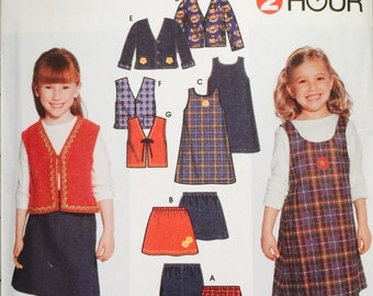 Simplicity 9854 Child's Pants, Skirt, Jumper and Lined or Unlined Jacket or Vest Pattern, UNCUT, Size 2-3-4-5-6-6X, Two Hour Pattern, 2001