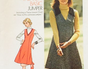 Simplicity 6628, Size  91/10, Young Junior/Teens' Short Jumper Pattern, UNCUT, How To Sew Pattern, Vintage 1974, Basic Jumper, Retro