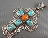Vintage Navajo A. Jake Hand Stamped Sterling Spider Web Turquoise Squash Spiny Oyster Cross Pendant