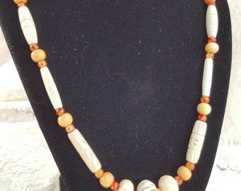 Natural Carved Bone and Fiery Burnt Orange Fall Necklace