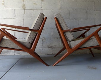 STUNNING mid century Modern styled Pair of LOUNGE CHAIRS