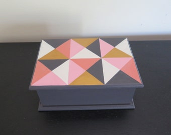 Keepsake box, jewellery box , geometric design, handpainted decorative box,