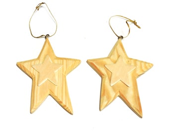 Unfinished Wooden Primitive Star Ornament, Wood Blank Shape Cut Out to Paint Stain Stencil Decorate, Christmas Craft Supply itsyourcountry