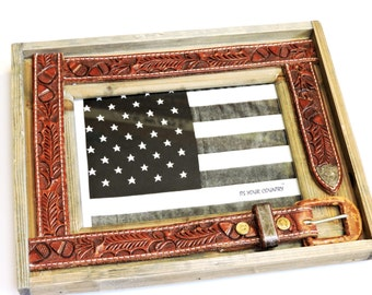 Cowboy Belt Frame, Barnwood Western Upcycled Leather Tooled Belt 5 x 7 Photo Frame Original Country Western Rustic Home Decor itsyourcountry
