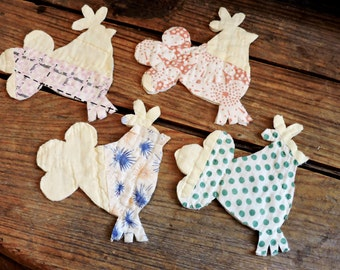 Quilted Rooster Appliques, Vintage Patchwork Cutter Quilt Embellishments, Primitive Shabby Fabric Patches,Scrapbooking Supply itsyourcountry