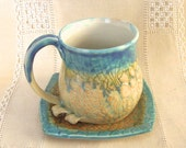 Pottery Coffee Mug and Square Saucer, HandThrown Stoneware Tea Cup, 16 oz, Lace Texture in Turquoise and Light Orange with Large Handle