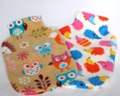 Polar Fleece Hot Water Bottle Cover - Hedgehogs or Owls and Foxes, Cozy Cover