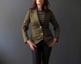 70s Merivale Olive Green Wool Structured Military Jacket Small