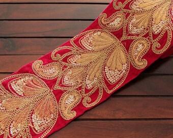1 Yard Pink Velvet Fabric Trim Golden Sequins Embroidered Trim Silk Sari  Fabric Trim India Fabric Trim Table Runner Trim Sari Border Ribbon