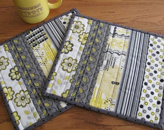 Quilted Mug Rugs Yellow/Gray Contemporary Fabrics Black & White Polka Dot Accent Fabric Cottage Chic Quilting Design - Set of Two Snack Mats