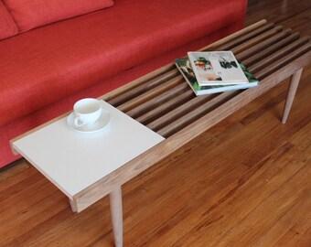 The Atherton - Mid Century Modern Slat Coffee Table / Bench