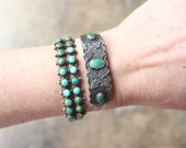 1930's Turquoise Bracelet / Fred Harvey Era Sterling Silver Cuff / Southwestern Arrow Jewelry