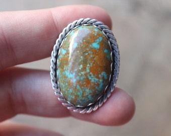 Large Turquoise Ring / Handmade Vintage Jewelry / Size 6 Southwest Ring