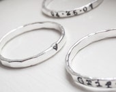 Stackable Rings Skinny Thin Sterling Silver Personalized Name Date Stacking Rings Hammered Rustic Stacker Jewelry
