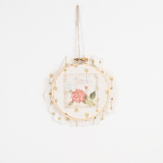 Rose embroidery art hoop wall bohemian
